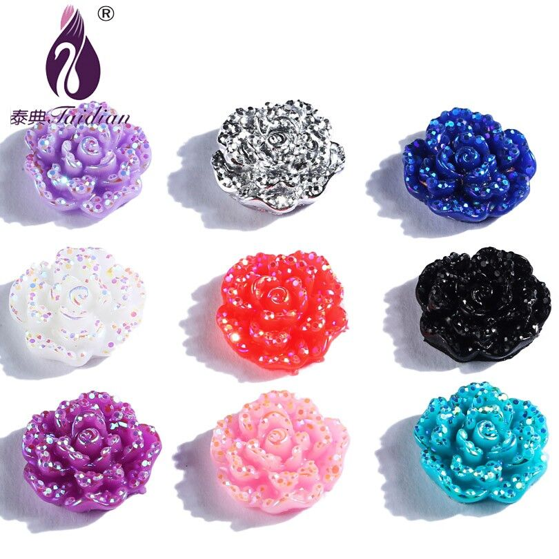 Plastic AB Rose Flower Accessories Resin Glitter Rose Flower Beads AB Cabochons Flower 15mm 100pces/lot Mix Color Randomly Send(China (Mainland))