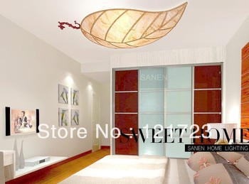 Leaves gold living room lamps rustic lighting ceiling light study light 8036 L108*W 55*H 10cm surface mounted led ceiling lamp
