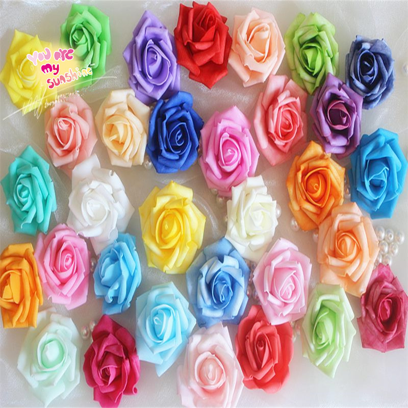 10 Real Touch Artificial Foam Roses For Home And Wedding Decoration Flower Heads DIY Kiss Balls For Home Decoration PE Flowers(China (Mainland))