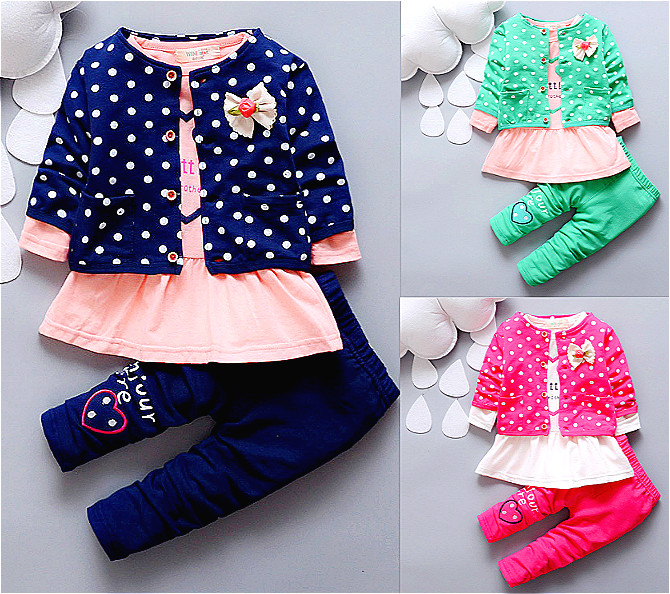 2016 summer spring baby girl suit clothes coat+Dress+pant 3 pcs infant girl clothing set kids clothes Minnie suit(China (Mainland))