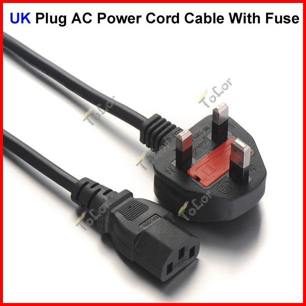 ( 200 pcs/lot ) 3 Prong UK Plug AC Power Cord Cable 1.8m 6FT With Fuse For PC Desktop Monitor Computer Wholesale(China (Mainland))