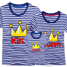 2016 Fashion Family Mother & kidsT-shirt Boys Girls Crown 13 Color T Shirt Plus Size Mom & Me Father and Son Suits Mother Father