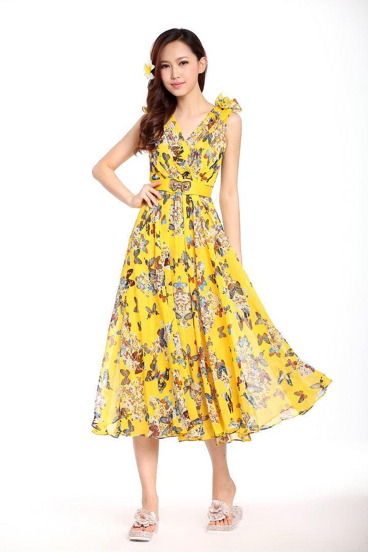 Long yellow floral dress yellow floral print dress mightylinksfo