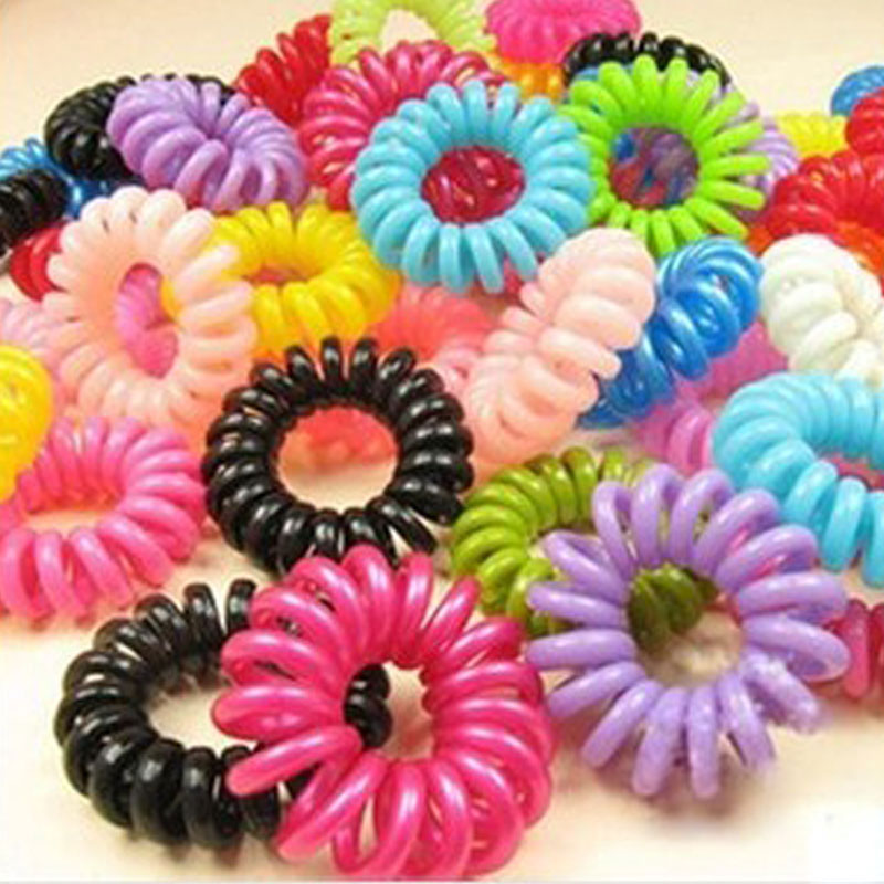 30pcs/lot Telephone Line Gum Wire Elastic Ring Hair Styling Accessory Bands For Girls Candy Colors Tie Hair Rope Accessory(China (Mainland))