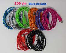 200 см 6ft плетеный Нейлоновый Micro USB V8 Кабель Зарядного Устройства Синхронизации Данных Провода шнура Для