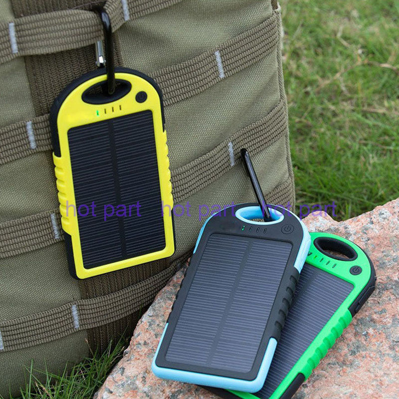 Genuine 5000mAh Dual USB Waterproof Solar Power Bank Battery Charger for Universal Cell Mobile Phone iPhone 6 6 plus Samsung HTC(China (Mainland))