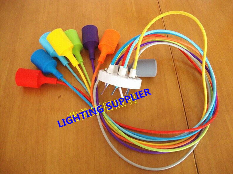Color Silicone braided rope single head pendant light modern brief decoration bar table lamp without bulbs(China (Mainland))
