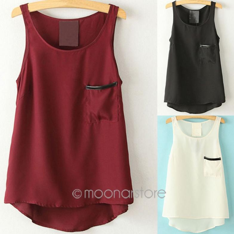 Asymmetrical Shirt Women's Tank Tops Simple Style Pocket Pocket Shirt Tops 2014 Round Neck Sleeveless J*50CE3112(China (Mainland))