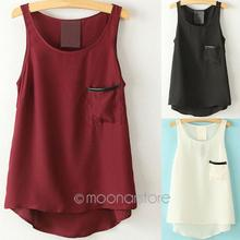 Asymmetrical Shirt  Women's Tank Tops Simple Style Pocket Pocket Shirt Tops 2014 Round Neck Sleeveless J*50CE3112(China (Mainland))