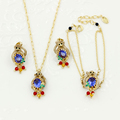 New Monkey Blue Gem Jewelry Sets Top Quality Monkey Crystal Bead Necklace Bracelet Earring Party Accessories