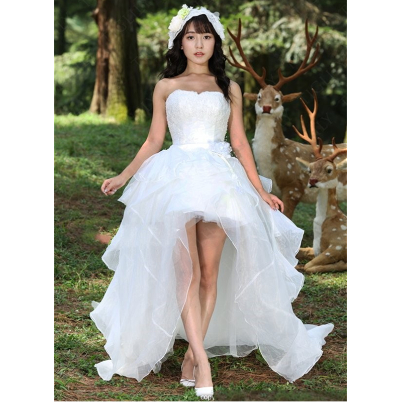 2015 Marvelous Short Front Long Back Wedding Dresses Ruffled Organza Dress Fo