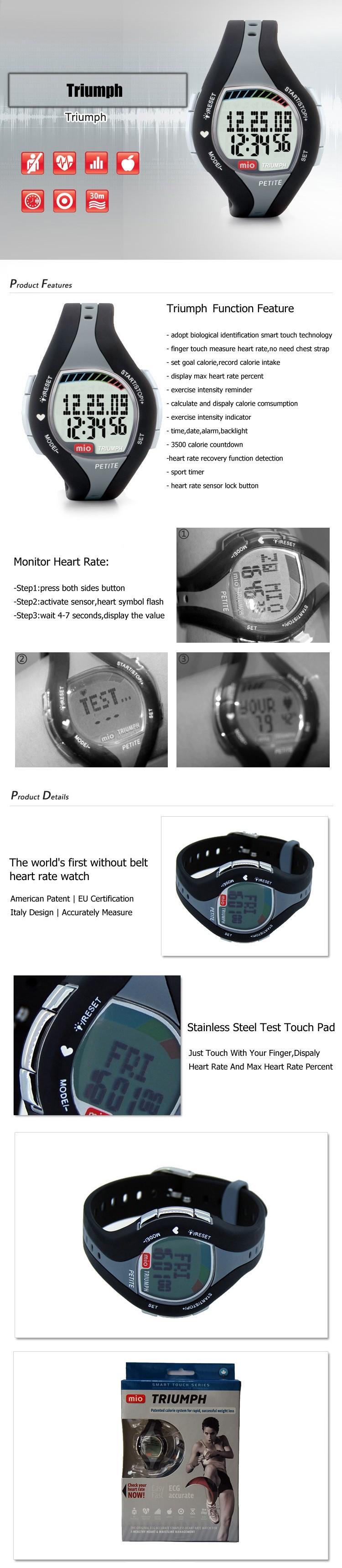 Mio Триумф без кардиопередатчик, палец сенсорный монитор сердечного ритма часы Американский Патент, ЕС Сертификации, Италия дизайн