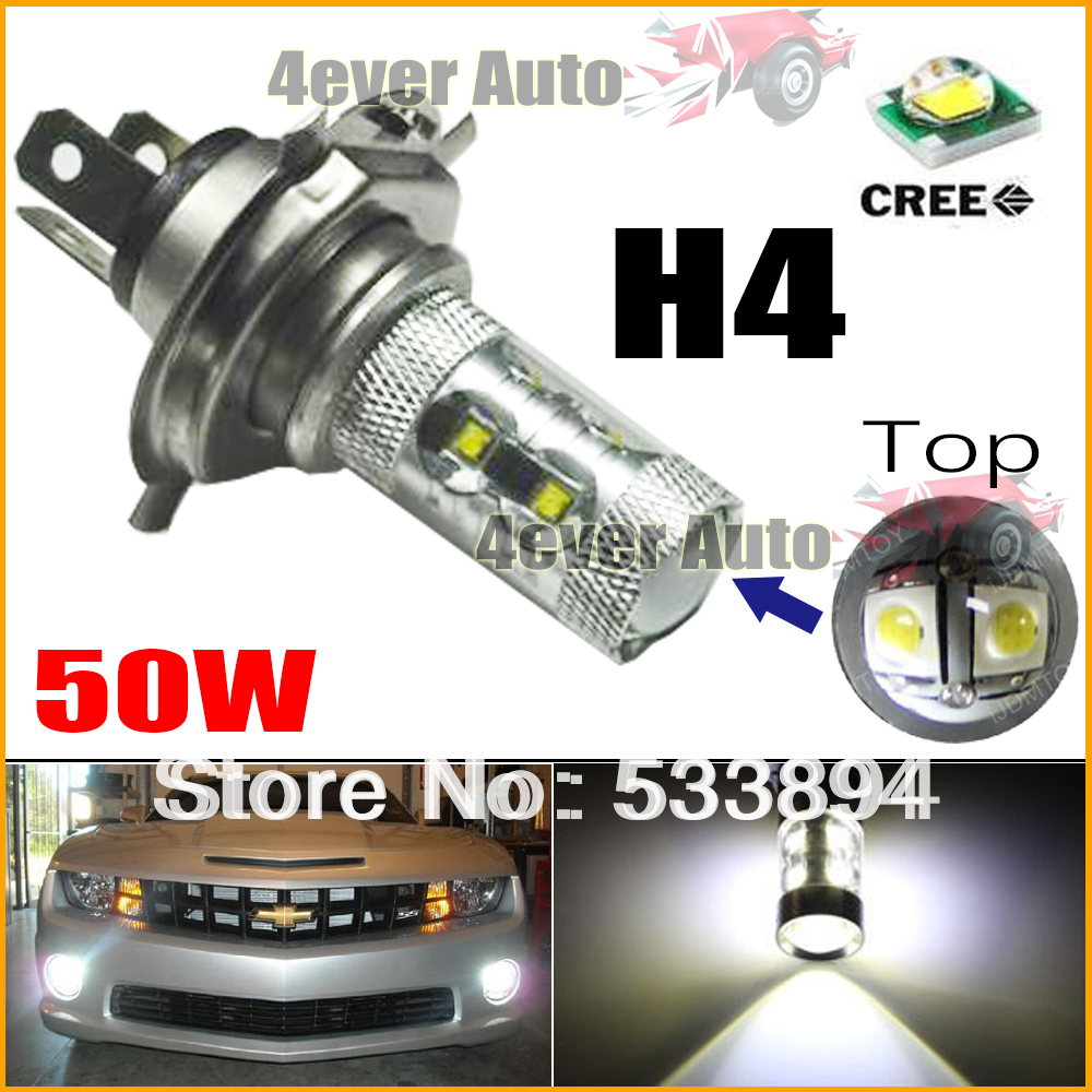 2PCS New Max 50W High Power 10 CREE Q5 Type H4 9003 LED Bulbs ForLED Front Daytime Running Light Fog Light DRL Replacement Bulbs(China (Mainland))