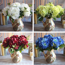 Wine Red Rose Floral 1 Bouquet Artificial Silk Peony Flower Arrangement Room Hydrangea Decor Party DIY(China (Mainland))