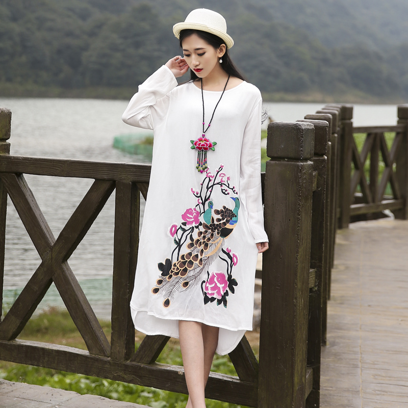 Maternity clothing spring autumn one-piece dress national trend full plus size maternity print long-sleeve - xinxin Manual knitting store