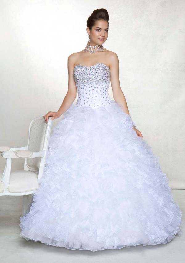 Beautiful Line Sweetheart Floor Length Tiered Beaded lace-up organza White Quinceanera Dress Jacket - beautiful_dress store