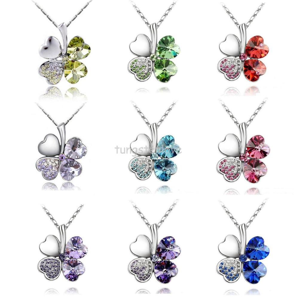 """Fashion Austria Crystal Sweet style half rhinestone crystal clover Pendant Necklace for Women 2014 Gifts 19""""(China (Mainland))"""