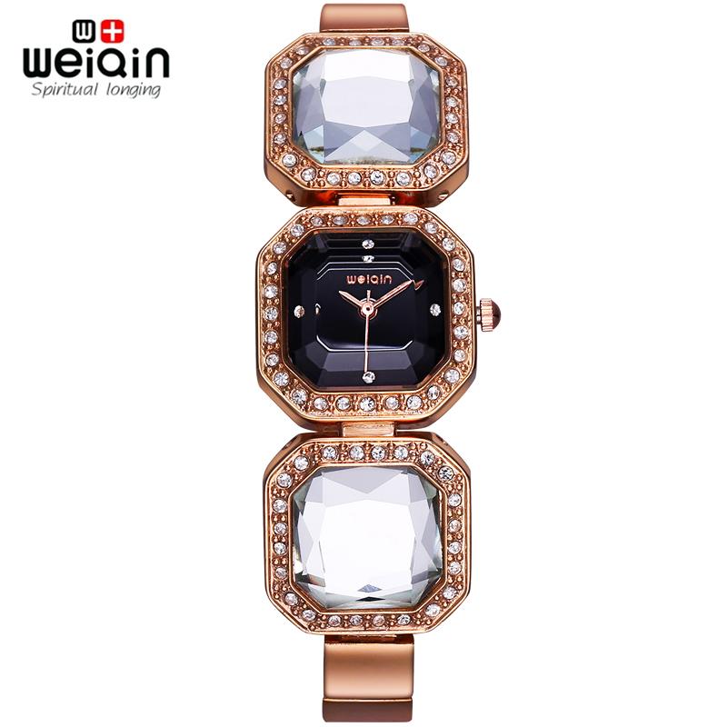 WEIQIN Big Diamond Shape Crystal Bracelet Watches Women Timepiece Female Wristwatch Dress Watch Relogio Feminino orologio donna(Hong Kong)