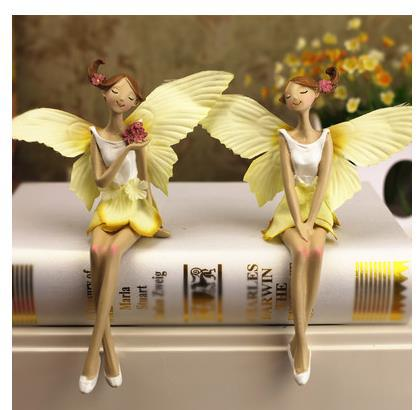 2 pieces a set christmas decoration home ornaments figurines angel resin fairy figurine for home decoration(China (Mainland))