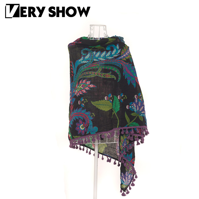 Very show twisted print cotton scarf national trend comfortable cape 33