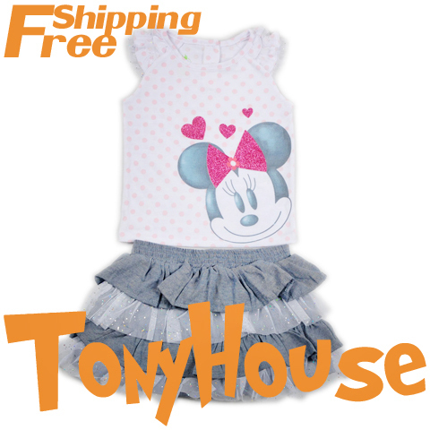 Baby girl's 2013 summer new skirt suit, cartoon Minnie Mouse 2pc sets polka dot flutter sleeve Tshirt+ cake skirt clothing sets