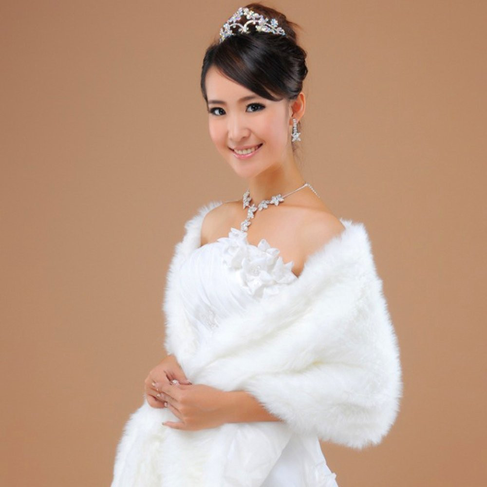 2015 Charming Long Hair Faux Fur Wedding Shawl Stoles Wraps Cape for Women(China (Mainland))