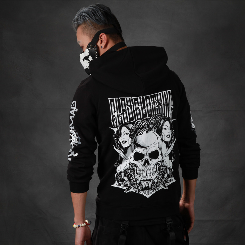 2016 Full Standard None Regular V-neck Cotton Skulls New Arrival Real Europe And The Tide Fleece Head Skull With A Hat Men(China (Mainland))