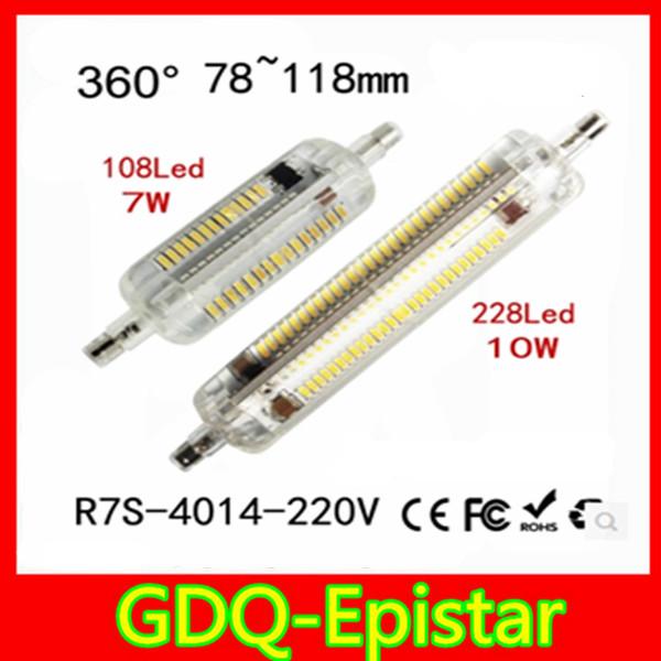 1X R7S LED Bulb 7W 10W SMD4014 220V Dimmable 78mm 118mm LED Lamp Bulb R7S Light 360 Degree Halogen Lamp Floodlight(China (Mainland))