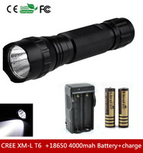 501B Cree XML T6 High Power 1300 Lumen 5-Mode LED Flashlight Torch light+2×18650 4000MAH Battery+Charger
