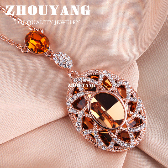 Top Quality ZYN004 Gold Love Necklace 18K Rose Gold Plated Fashion Pendant Jewelry Made with Austria Crystal  Wholesale