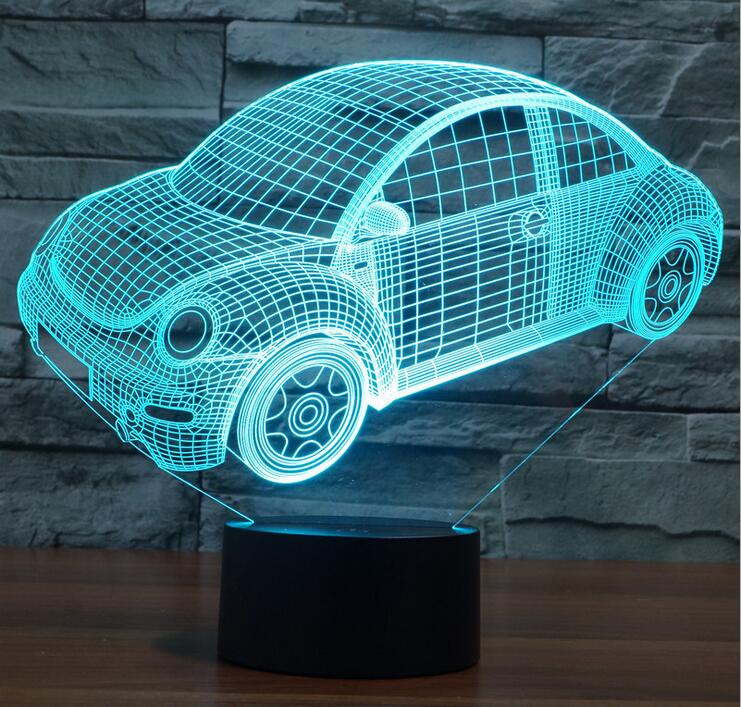 Colorful Beetle Car 3D Led Night Light Mood Lamp for Holiday Lamp 3D USB Lamp 7 Colors Changing As Gift for kids boy friends(China (Mainland))
