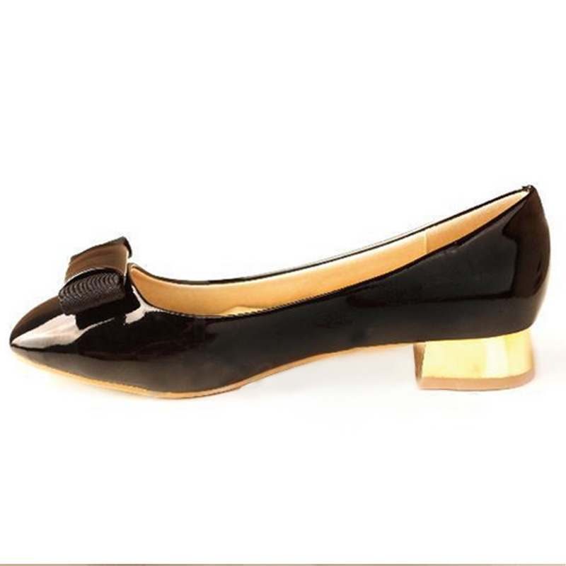 Spring Autumn Bowtie Patent Leather Women Flats Fashion Brand Single Shoes Elegant Plus Size 40 Black Red W002 Free Shipping(China (Mainland))