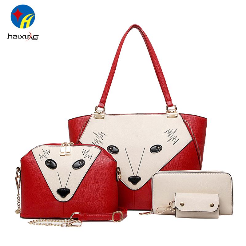 Toposhine Fox Face Women Composite Bags Panelled Fashion Women Bags 4pcs/set Girls Shoulder Bag for Woman PU Leather Handbag<br><br>Aliexpress