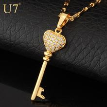New 2014 Fashion Jewelry Zircon Romantic Heart Key Necklaces & Pendants 18K Gold Plated Zirconia Pendant Necklace For Women N375
