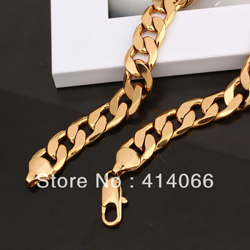 Free Shipping Sale, Choker Necklace 18k Gold Plated 60cm Length Men Chain Necklaces
