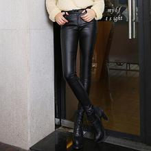 M-3XL 2016 Fashion Thicken Women Leather Pants Winter Warm High Waist Stretch PU Pencil Pants Black Trousers Female Plus Size