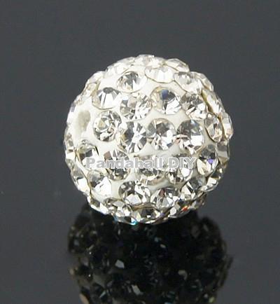 100pcs Pave Disco Ball Bead Polymer Clay Rhinestone Beads 8mm Grade A Round Crystal, Hole: 1mm(China (Mainland))