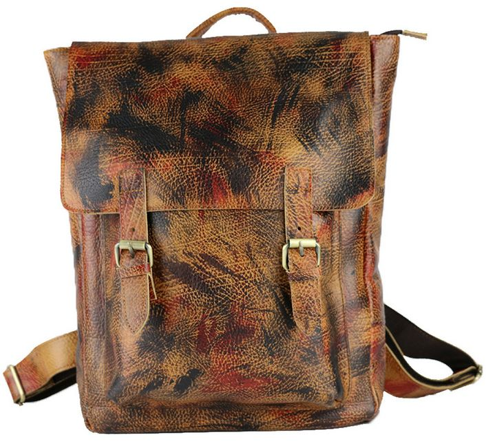 3667 New Vintage Men Genuine Leather Backpack Korea Fashion First layer of cow leather Brown coloured drawing or pattern(China (Mainland))