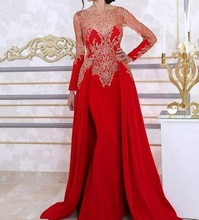 Luxury Red Evening Dresses With Long Sleeves 2017 Two Pieces Celebrity Formal Evening Gowns For Wedding Party Prom Dresses(China (Mainland))