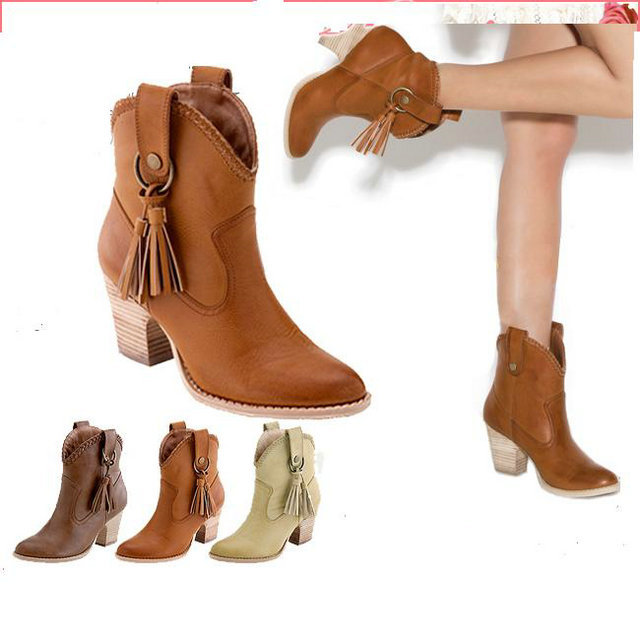 Free shipping New Fashion Women Chunky High Heel Tassel Cowgirl Western Ankle Boots Cheap On Sale Wholesale large size 34-43(China (Mainland))
