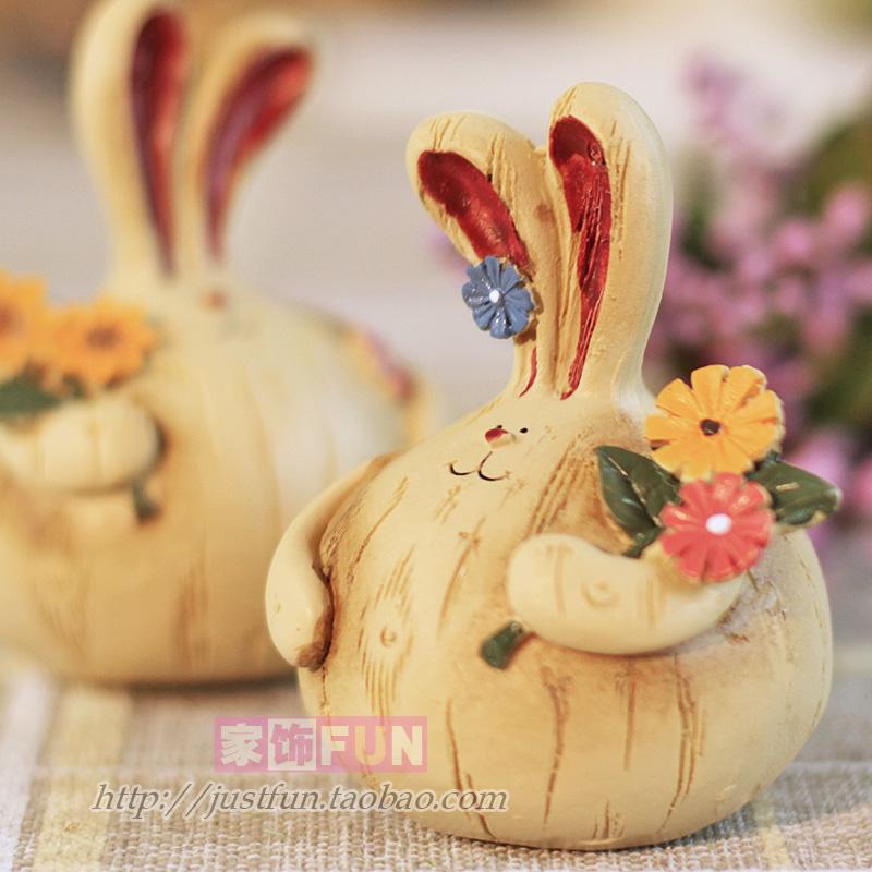 Furnishings fun resin rabbit home decoration wedding gift a pair of 8.8 !(China (Mainland))