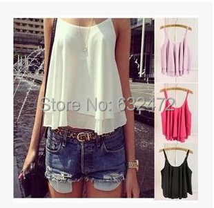 Women's Crop Tank Tops 2015 Double straps chiffon sleeveless vest female blouses Camis Tees - Coco International Trade Store store