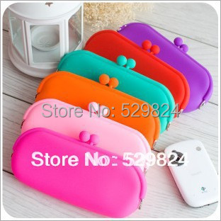 Rainbow 10 Colors Jelly rubber Silicone Pouch Coin Purse wallet glasses cellphone cosmetic Coin Bag Case wholesale 15pcs lot
