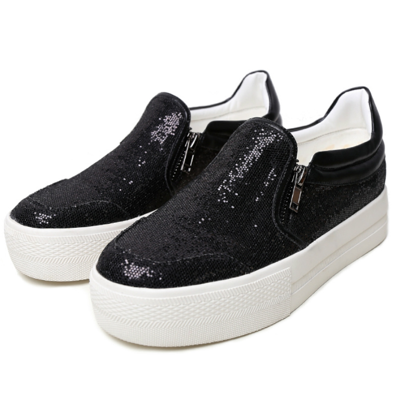 2016 Spring autumn brand women sequined cloth thick sole flat heeled casual shoes women round toe new fashion platforms flats<br><br>Aliexpress