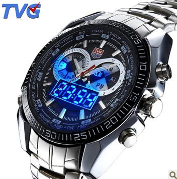 TVG Stainless Steel Handsome Fashion Blue Binary LED sports watches Military Watch Men's quartz 50AM Waterproof Watches(China (Mainland))