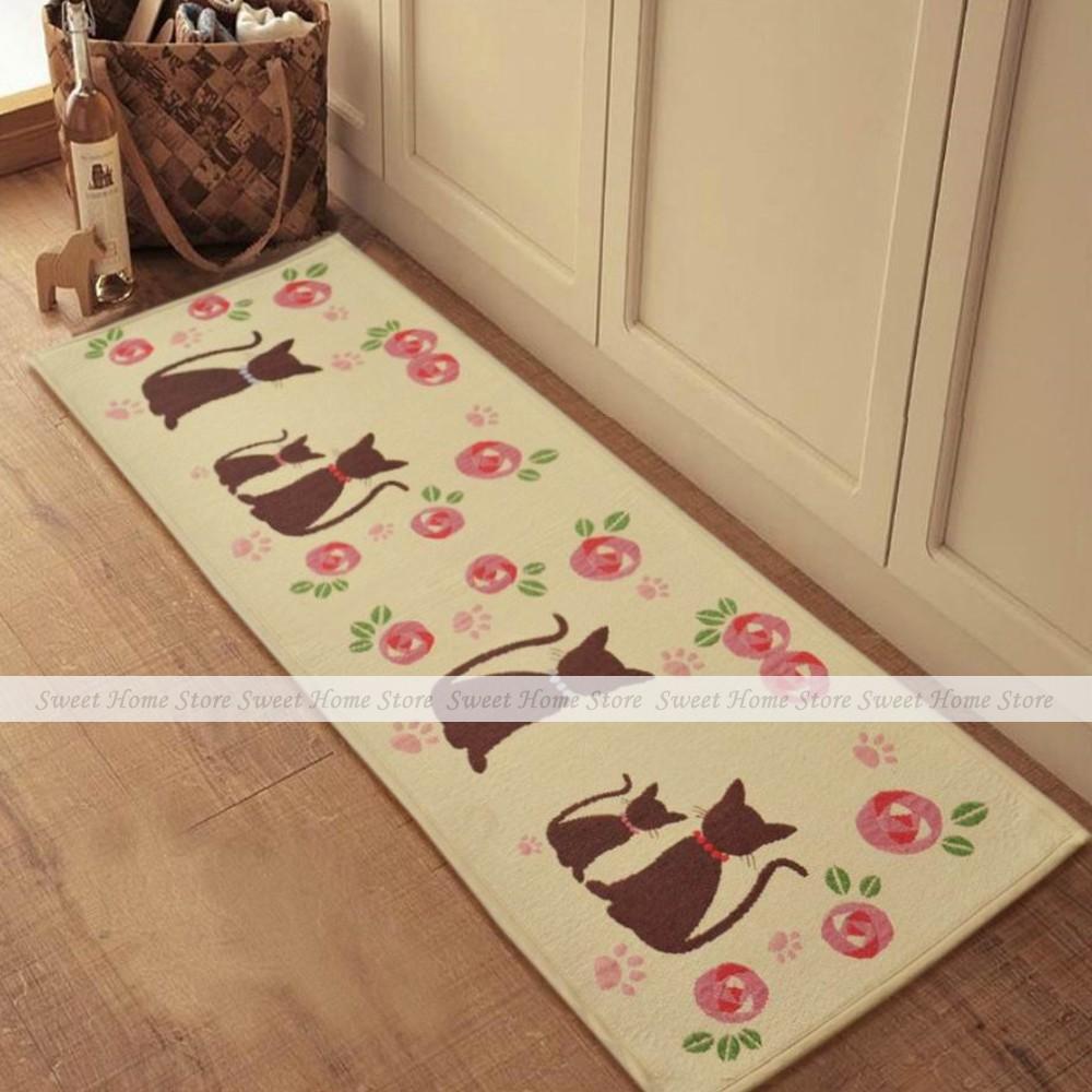 yazi Cartoon Cats Extra Long Bedroom Floor Door Bath Rug Hallway Kitchen Runner Mat 210x50cm(China (Mainland))