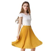 Vintage Tulle Skirt Tutu Midi Summer Skirts Womens 2016 Slim Elastic High Waist Skirt Jupe Longue Skater Skirt Pleated Skirts(China (Mainland))