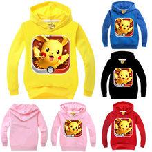Pokemon GO-Baby Kids Boys Girls Hoodies Babies Kid Pikachu Sweatshirt Autumn Long Sleeve Tops Clothes 2-7Y Clothing