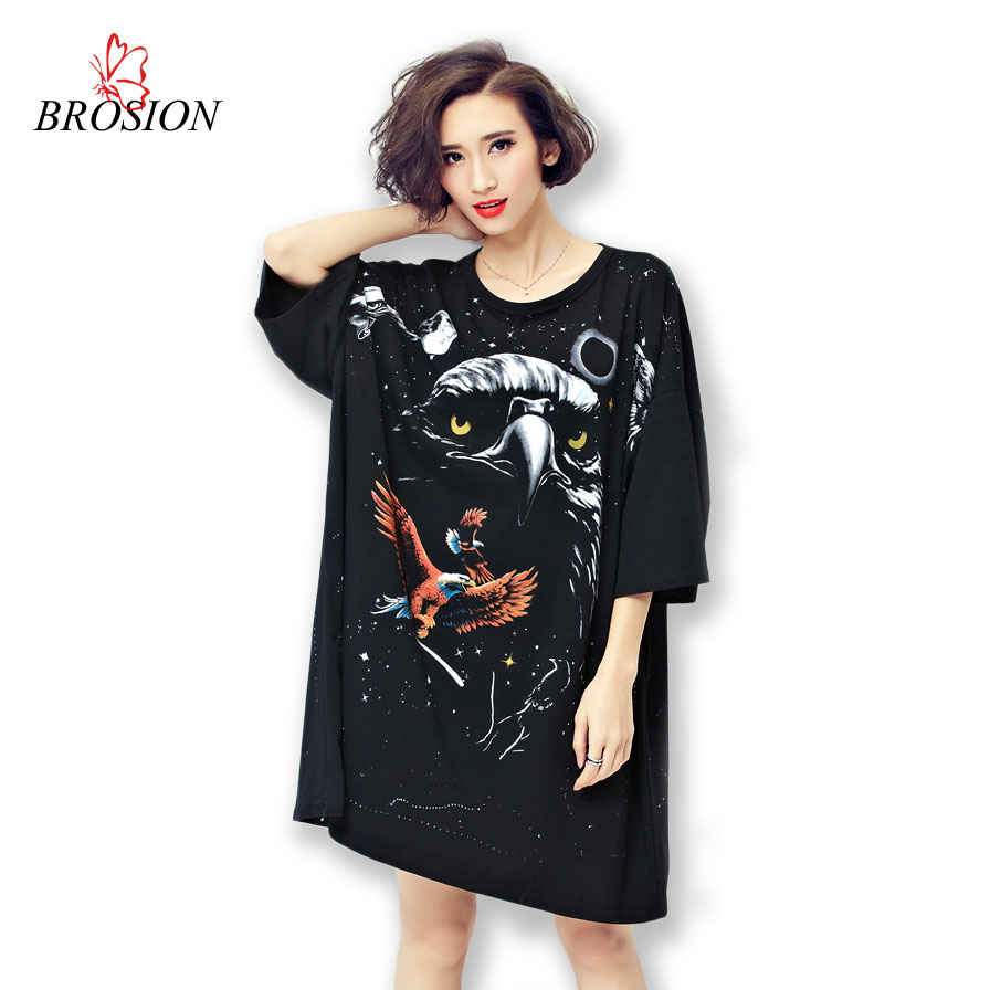 5XL 2016 Summer Style Losse Cotton T shirt Dresses Tie Dye Women Printed Eagle Batwing Sleeve Big Plus Size Women T shirt Dress(China (Mainland))