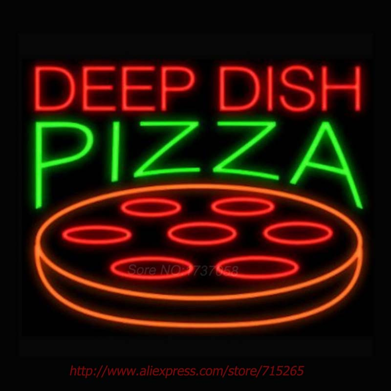 Deep Dish Pizza Neon Sign Store Display Neon Bulbs Real Glass Tube Gift sign Recreation Room advertisement sign 30x24(China (Mainland))